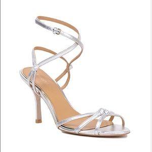 Badgley Mischka Kendall II Silver Hugh Heel Sandal